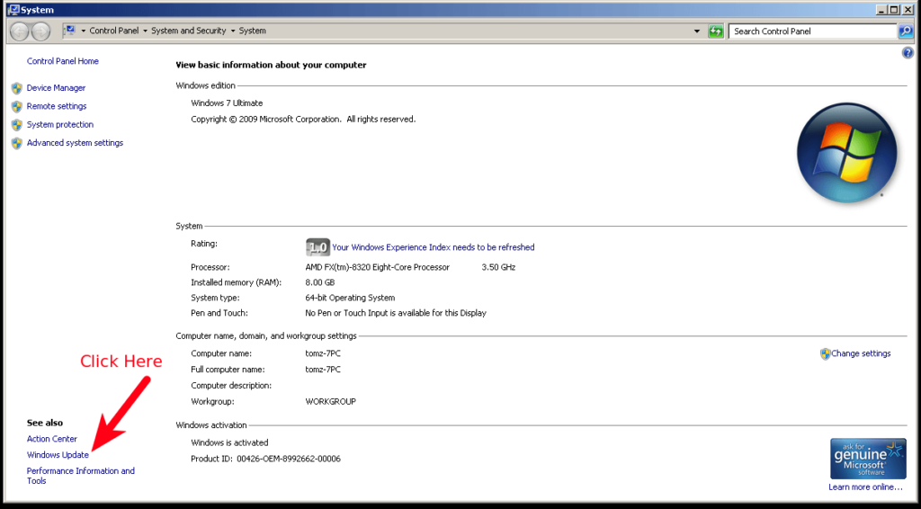 System Properties dialog box